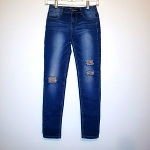 Beautees Girls sz 12 Gold sequined destroyed jeans
